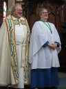 Rev Thomas Shepherd and Catherine (in her choir robes) in church